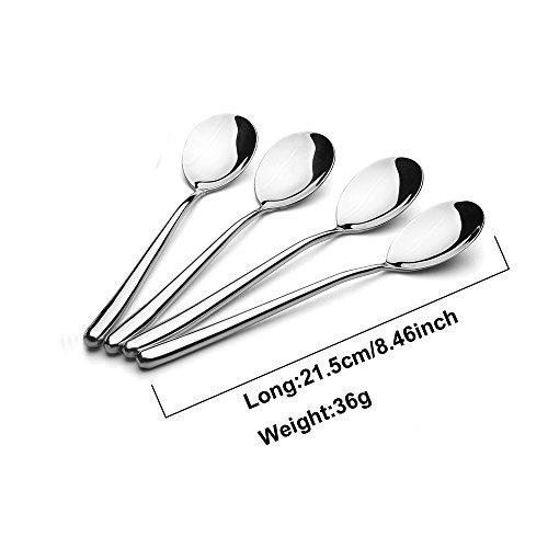 Wenkoni Stainless Steel Soup Spoon Rice Spoon LongHollow-handleSize846INCHColorSilver