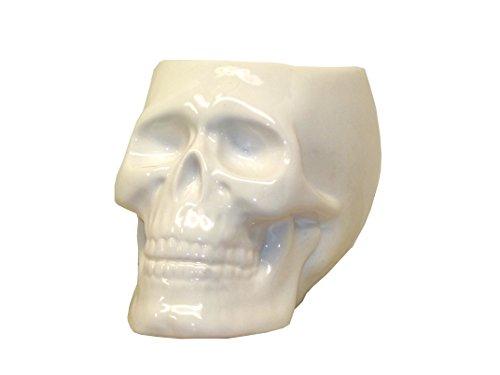 White Ceramic Skull Candy Dish Bowl