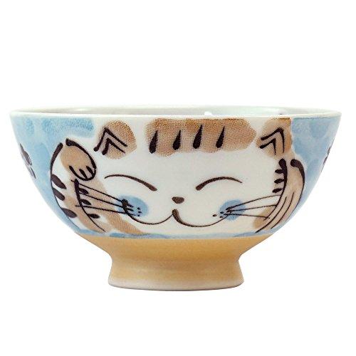 Mino ware Japanese Ceramics Rice Bowl Fukuneko Cat Blue