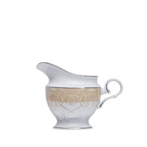 SONATA 6-Ounce MILK JUGCREAMER White Porcelain Silver Decorated