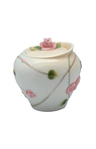 325 Inch White Porcelain Sugar Bowl Roses Buds Leaves Stems