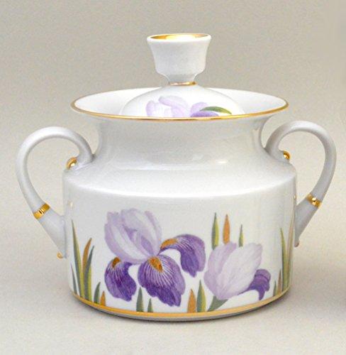 Imperial  Lomonosov Porcelain Sugar Bowl Irises