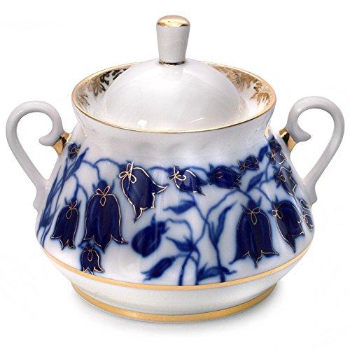 Lomonosov Porcelain Sugar Bowl Blue Bells 10 oz300 ml