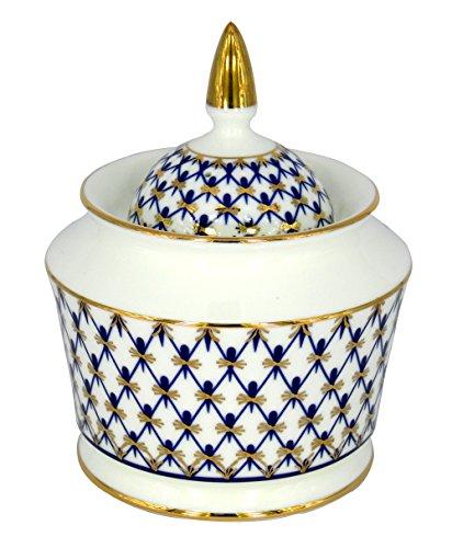 Lomonosov Porcelain Sugar Bowl Yulia Cobalt Net 105 oz310 ml