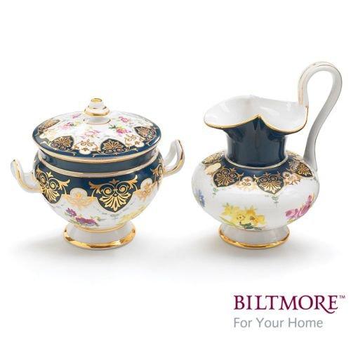 Vanderbilt Porcelain Sugar Bowl and Creamer Set Designed From Biltmore House Sevres Tea Collection