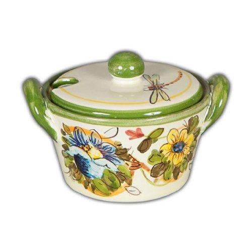 Hand Painted Italian Ceramic Fiori Sugar Bowl - Handmade in Tuscany