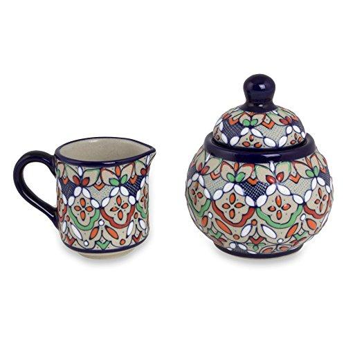 NOVICA Multicolor Floral Ceramic Sugar Bowl and Creamer 8 oz Guanajuato Festivals