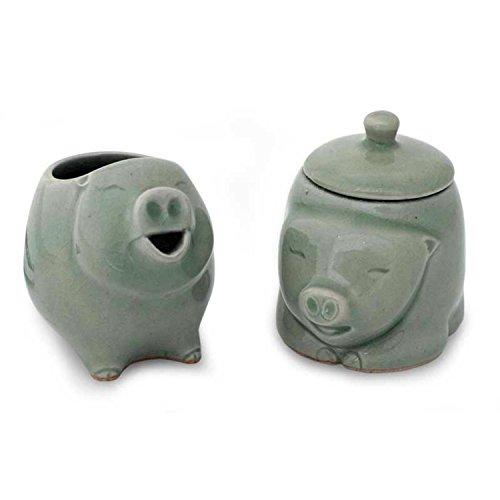 NOVICA Piggy Cheer 2 Piece Celadon Ceramic Sugar Bowl And Creamer