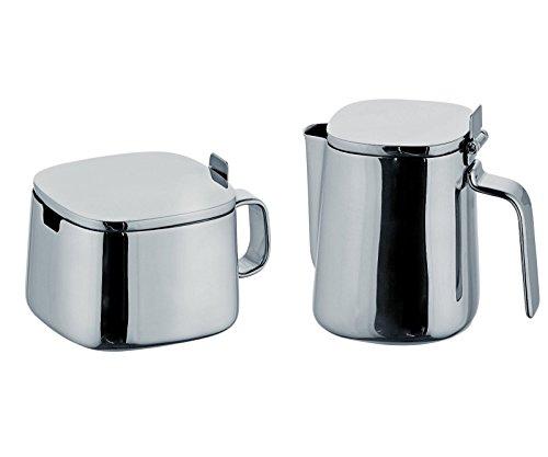 Alessi Kristiina Lassus Design Series Stainless Steel Sugar Bowl Creamer Set