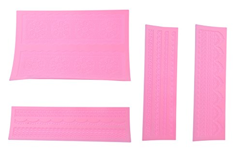 Cake Decoration Silicone Set - Lace Embossing Impression Diy Cake Fondant Decorating Mold - 4pc
