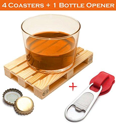 Set Of 4 Miniature Pallet Beverage Coasters Set By J&z Including 1 Bottle Opener In Shape Of Zipper. Drink Coasters