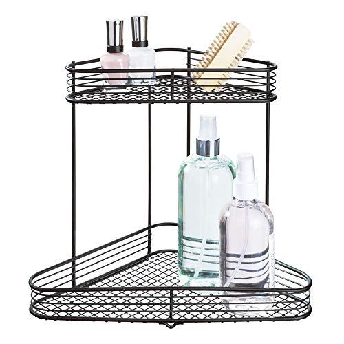 iDesign Vienna Metal Wire Standing Vanity Caddy 2-Tier Baskets for Countertops Desks Dressers Bathroom Set of 1 Corner Shelf