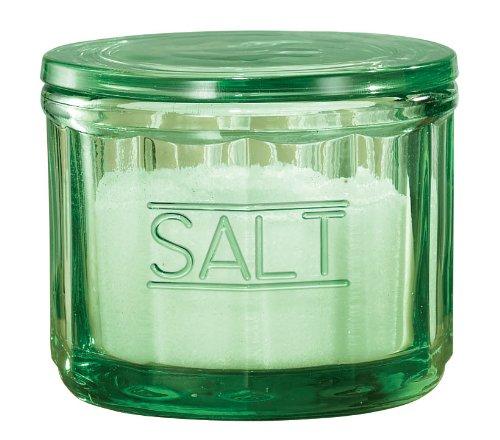 Miles Kimball Green Depression Style Glass Salt Cellar