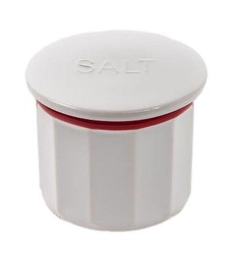 Vintage Farmhouse Style Salt Box / Cellar- Stoneware W/ Lid-red/white
