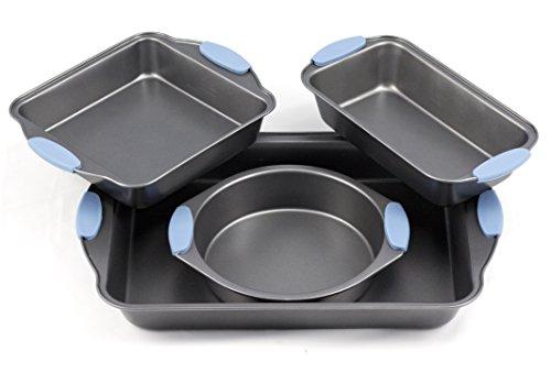 Bakeware Set -premium Nonstick Baking Pans -set Of 4- Blue Silicone Handles Includes A Pie Pan, A Square Cake