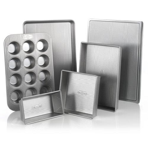 Usa Pan Bakeware Aluminized Steel 6 Piece Set, Cookie Sheet, Half Sheet, Loaf Pan, Rectangular Pan, Square Cake