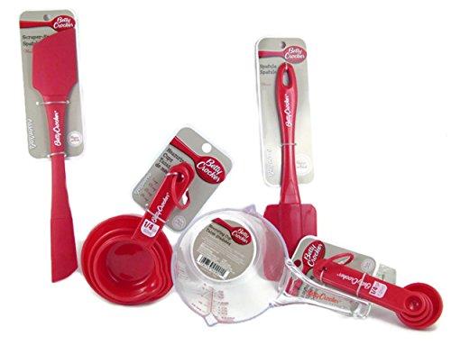 5-Piece Betty Crocker Essentials Baking Bundle - Includes 16-Ounce Liquid Measuring Cup 4-Piece Dry Measuring Cups 4-Piece Measuring Spoon Set Spatula and 2-Sided ScraperSpreader Spatula