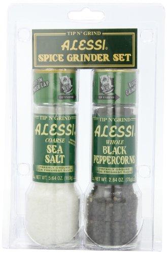 Alessi Grinder Set Sea Salt and Black PepperCorns Pack of 3