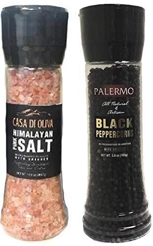 Palermo Peppercorns With Grinder 58 oz Casa di Oliva Himalayan Pink Salt 129 oz