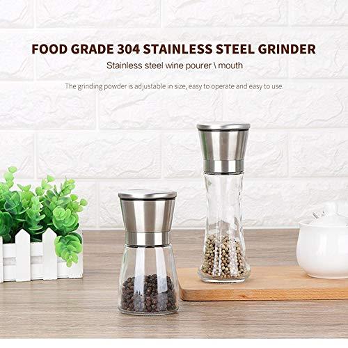 Lironheel Stainless Steel Pepper Mill Grinder Manual Salt Pepper Shakers Herb Mill Grinder Adjustable Pepper Grinder
