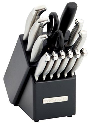 Kitchenaid 14-piece Stainless Steel Knife Block Set With Black Block