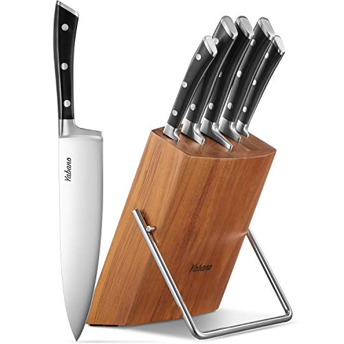 Kitchen Knife Set High Carbon Stainless Steel 6-Piece Knife Set Super Sharp Upgraded Anti-rust Cutlery Knife Set with Wooden Block Dishwasher Safe by Yabano