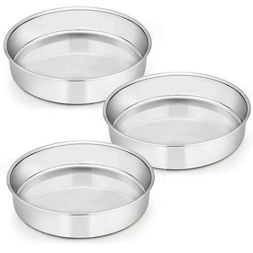9½ Inch Cake Pan Set of 3 E-far Stainless Steel Round Cake Baking Pans Non-Toxic Healthy Mirror Finish Dishwasher Safe