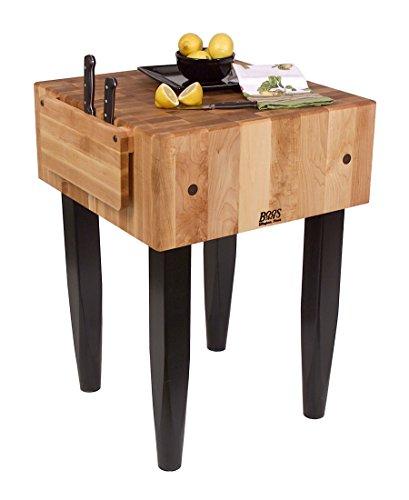 John Boos PCA Butcher Block - 10 Thick End-Grain Maple Block 30W x 30D Walnut Stained Legs