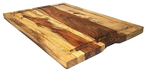 Mountain Woods Brown Large Organic Hardwood Sheesham Cutting Board wJuice groove  Cheese Board  Chopping board  Charcuterie board  Butcher Block - 22 x 15
