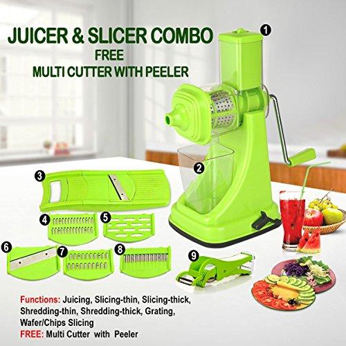 Chefzone Fruit Vegetable Fruit Vegetable Manual Juicer Mixer Grinder6 In 1 Multi-Purpose Fruit Vegetable Slicer with Built-in Blades Multi Veg Cutter With Peeler Green Set of 9