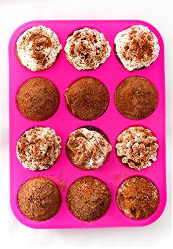 Silicone Cupcake Pan Muffin Tin - Pink Silicon Cupcake Baking Pan 12 Cups - BPA-Free Cupcake Tray - Non stick Eco Birthday Cupcake Muffin Pan - Silicone Cupcake Cake Pan - FREE E-BOOK with 50 RECIPES