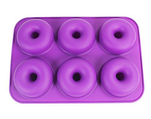 Silicone Baking Pan Donut KOOTIPS Non-Stick Pan - 6 Full Size Doughnuts Shape - BPA Free Tray DishwasherMicrowaveOvenFreezer Safe - Baking Pans and Molds 6 Full Size Pan