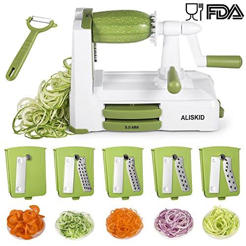 5-Blade Spiralizer - ALISKID Vegetable Spiralizer Slicer Shredder Veggie Grater Cutter with Powerful Suction Base