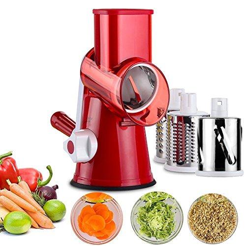 Auxin Manual Vegetable Chopper Mandoline Food Slicer Veggie Spiralizer Onions Cutter 3-Blade Safe Red