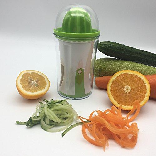 Hachef Spiral Slicer& Juicer –4 in 1 Multi-function Vegetable Spiral Slicer With Juicer Lemon Orange Squeezer Vegie Pasta Zoodle Maker Zucchini Noodle Pasta Maker