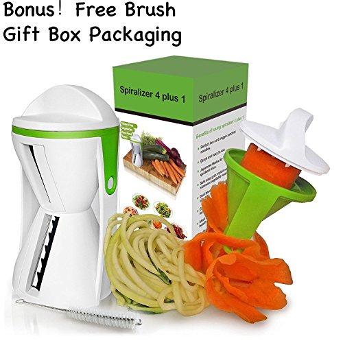 NEWINHOME NEW DESIGN Spiralizer - 5 in 1 Spiral Slicer - Vegetable Spiralizer - FREE brush - Zucchini Noodle Maker - Vegetable Cutter-Spiralizer 4 Plus 1