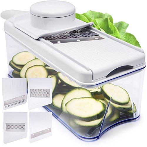 Adjustable Mandoline Slicer - 5 Blades - Vegetable Cutter Peeler Slicer Grater Julienne Slicer White
