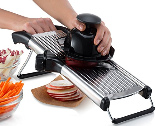 Gourmia GMS9105 Stainless Steel Mandoline Slicer Dial-Style Kitchen Slicer With Built in Adjustable Blades Fine to Thick Slice Julienne Settings