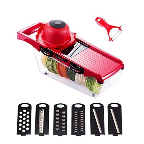 ZL Adjustable Mandoline Slicer - 6 Stainless Steel Blades - Vegetable Cutter Peeler Slicer Grater Julienne Slicer