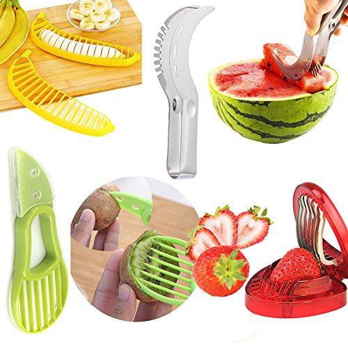 Aremazing Fruit Slicer Set of 4 Banana Watermelon Kiwi Avocado Slicer Strawberry Huller Fruit Knife Kitchen Tools Value Pack