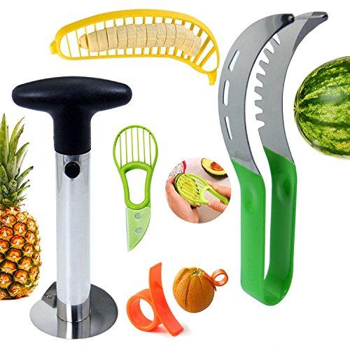 Homate Fruit Slicer Set of 5 Fruit Knives Set for Watermelon Slicer Pineapple Corer Banana Slicer Avocado Slicer and Orange Peeler - Innovative Kitchen Tool Gadgets