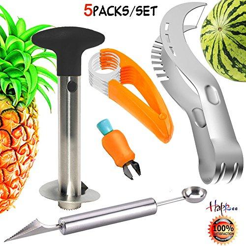 Stainless Fruit Slicer Kit Fruit Peeler Set-Pineapple De-Corer PeelerBanana Chopper Watermelon Slicer Carving Knife&Melon Baller Scoop and Strawberry HullerColor Deviation Fruit Slicer Kit