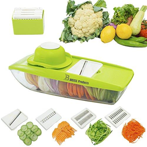 B WEISS mandoline slicer Cuts Fruits Vegetables Straight Julienne-Vegetable Slicer - Food Slicer - Vegetable Cutter with 5 Interchangeable Blades