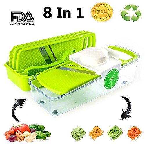 Mandoline Slicer  Peeler -Vegetable Grater-Julienne Vegetable Slicer with 4 Stainless Steel Blades-Food Container