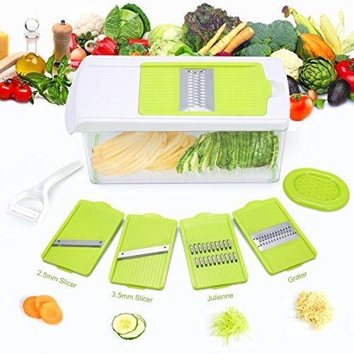 Mandoline Slicer TAPCET Mandolin Vegetable Slicer Vegetable Chopper 4 Interchangeable Blades Cutter Includes Vegetable Grater Julienne Slicer and Peeler Hand Protector and Storage Container