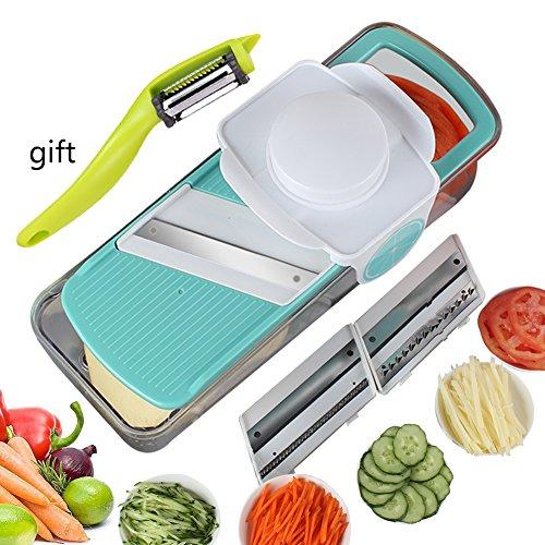Vegetable Slicer Mandoline Vegetable Fruit Julienne Cutter Upintek Effortless Heavy-Duty Salad Vegetable CutterPeeler Slicer Gift3 Interchangeable Blades Set with Food Container for Veggie Pasta