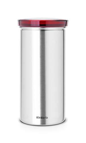 Brabantia Senseo Coffee Pod Storage Jar With Senseo Imprint With Matt Steel Fingerprint Proof Red Lid