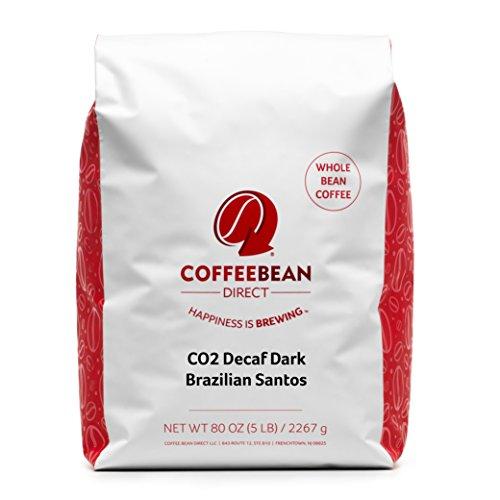 Coffee Bean Direct CO2 Decaf Dark Brazilian Santos Whole Bean 5-Pound Bag