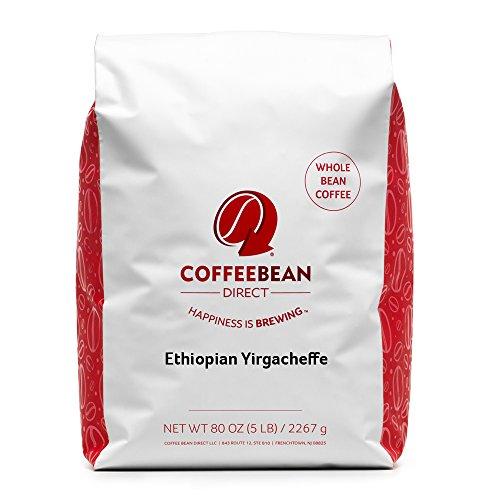 Coffee Bean Direct Ethiopian Yirgacheffe Coffee Light Roast Whole Bean 5 Pound