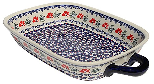Polish Pottery Baking Dish with Handles From Zaklady Ceramiczne Boleslawiec 1345-1115 Classic Pattern Depth 25 Width 11 Length 145 18 with Handles